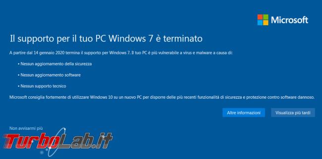 supporto PC Windows 7 è terminato: significato come nascondere avviso