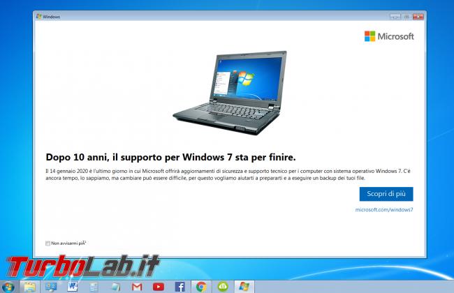supporto PC Windows 7 è terminato: significato come nascondere avviso - sipnotify fine supporto windows 7