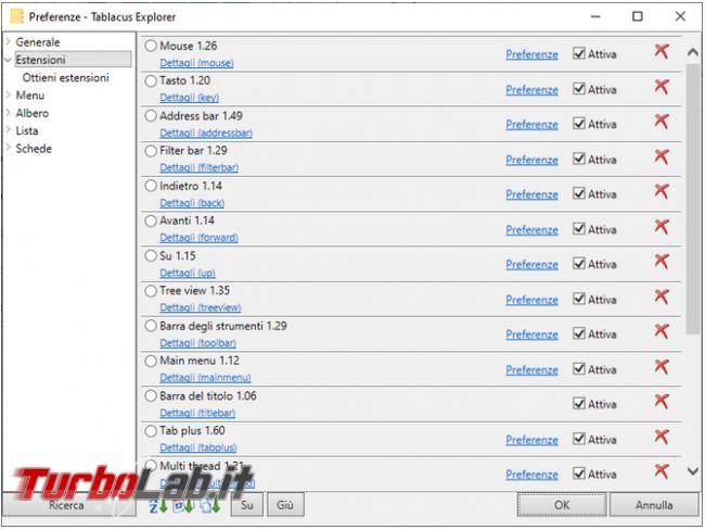 Tablacus explorer, file manager Windows Tab, estensioni preferiti