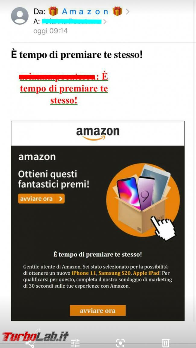 ' tempo premiare te stesso! email Amazon è truffa - Screenshot_20200519-081933
