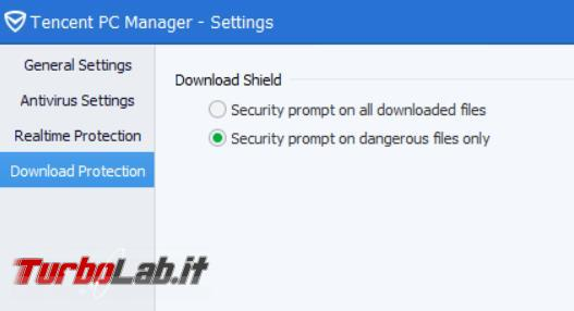 Tencent PC Manager l'antivirus cinese  prova TurboLab.it