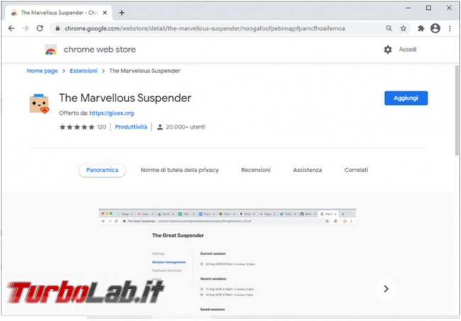 The Marvellous Suspender, l'estensione Chrome riduce consumo memoria RAM (alternativa The Great Suspender)