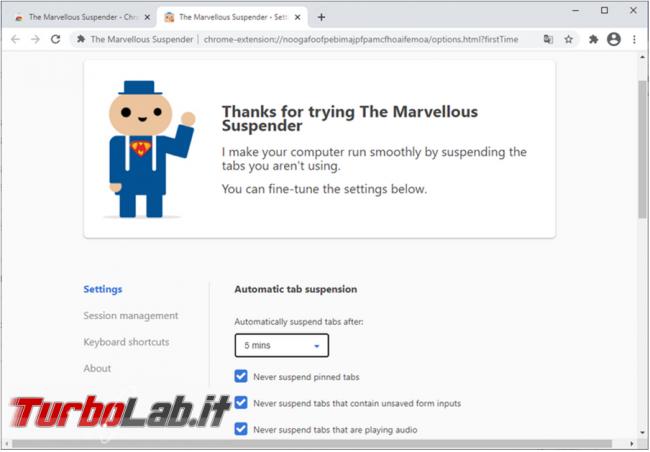 The Marvellous Suspender, l'estensione Chrome riduce consumo memoria RAM (alternativa The Great Suspender)