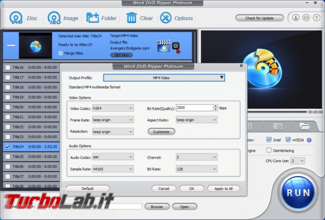 Trasformare film DVD file MP4 PC, smartphone, tablet: guida rip WinX DVD Ripper (conversione DVD MP4, H.264, AAC) - zShotVM_1589890709