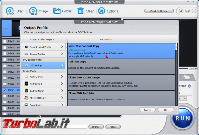 Trasformare film DVD file MP4 PC, smartphone, tablet: guida rip WinX DVD Ripper (conversione DVD MP4, H.264, AAC) - zShotVM_1589891048
