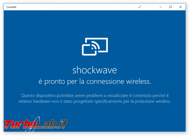 Trasformare PC Windows 10 ricevitore Miracast (Wireless Display) proiettare smartphone notebook monitor, senza fili - windows 10 app connetti pronto