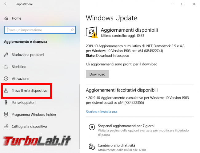 Trovare bloccare dispositivo Windows perso rubato - FrShot_1572726944