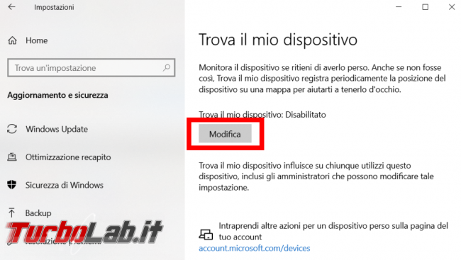 Trovare bloccare dispositivo Windows perso rubato - FrShot_1572727369