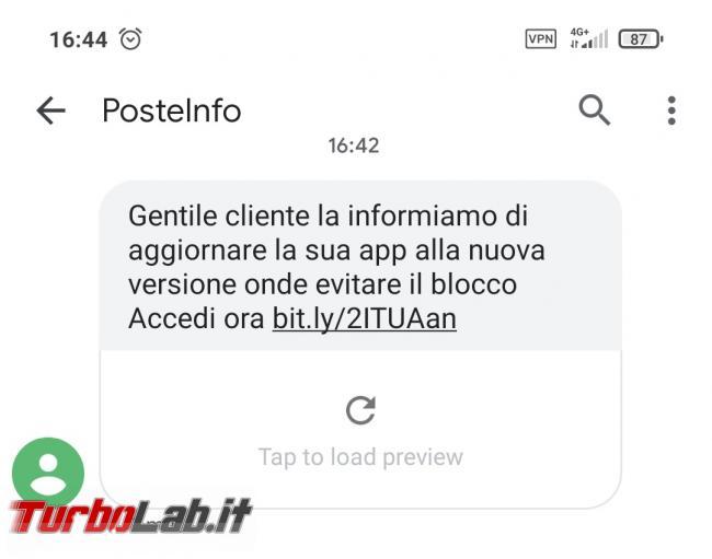 Truffa SMS PosteInfo: aggiornare app nuova versione onde evitare blocco - truffa sms android