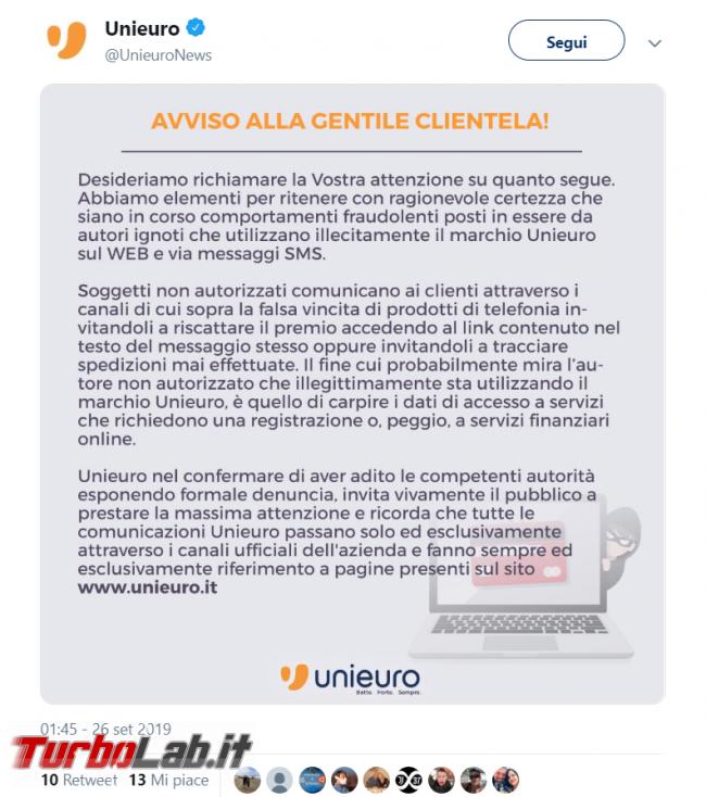 Truffa Unieuro: SMS promette false vincite - FrShot_1569570836