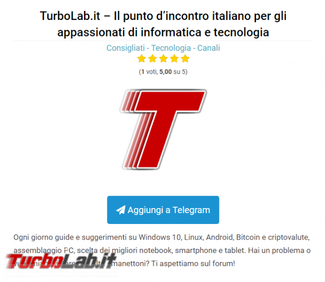 TurboLab.it è consigliato Telegram Italia - Annotazione 2019-08-12 154348