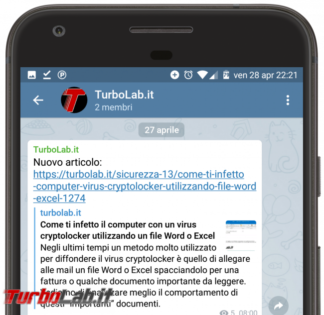 TurboLab.it è ora Telegram - turbolab.it telegram