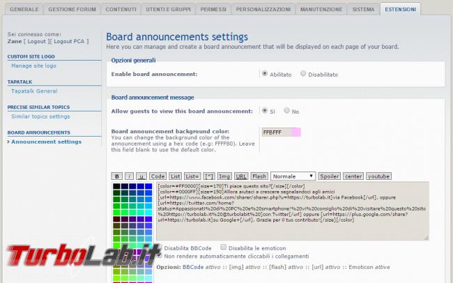 TurboLab.it phpBB Essentials: 10+ migliori estensioni phpBB 3.2 ogni community dovrebbe avere - Board Announcements pca