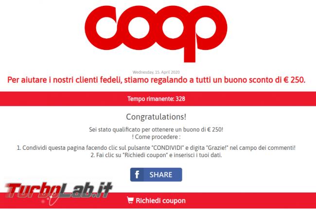 Tutti coloro condividono questo link riceveranno buono Coop 250 € solo oggi: non cadete tranello! - screenshot truffa coop 2