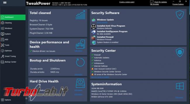 TweakPower ottimizza ripara sistema operativo