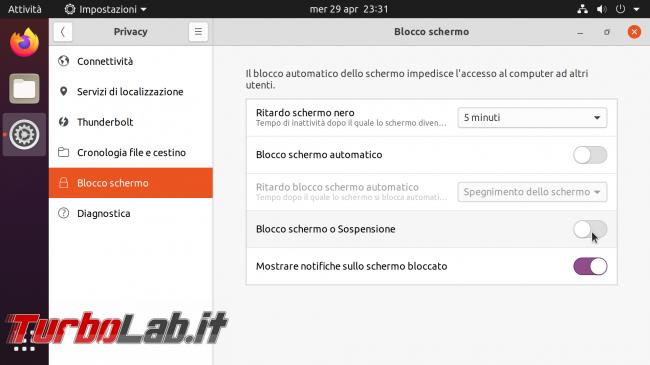 Ubuntu 20.04: come disattivare blocco automatico dopo 5 minuti richiesta password