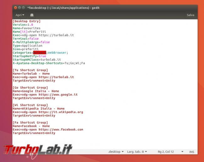 Ubuntu: come aprire siti preferiti launcher Unity
