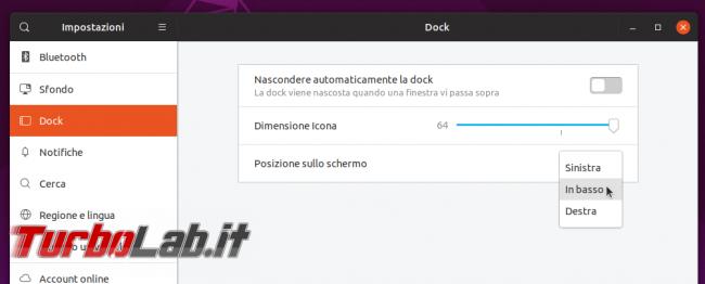 Ubuntu come Windows: spostare barra / Dock basso pulsante applicazioni sinistra