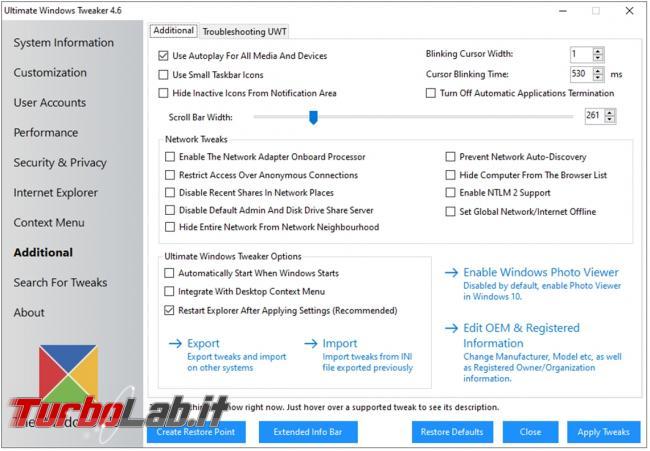 Ultimate Windows Tweaker puoi personalizzare numerosi aspetti impostazioni Windows 10