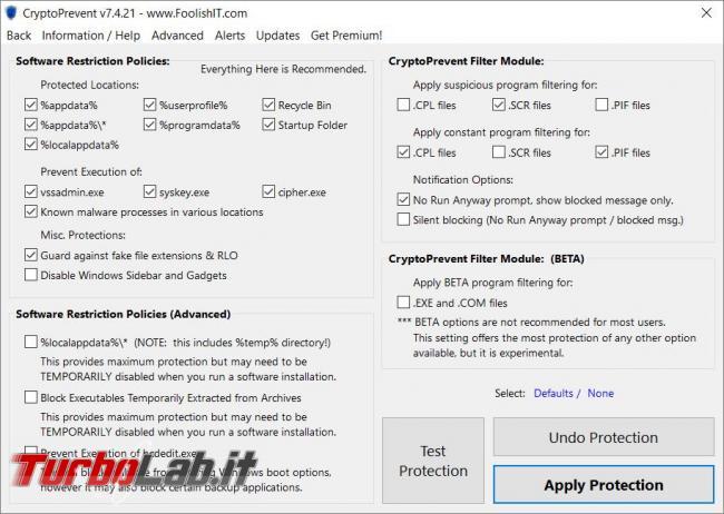 Utenza limitata CryptoPrevent possono limitare l'infezione virus CryptoLocker