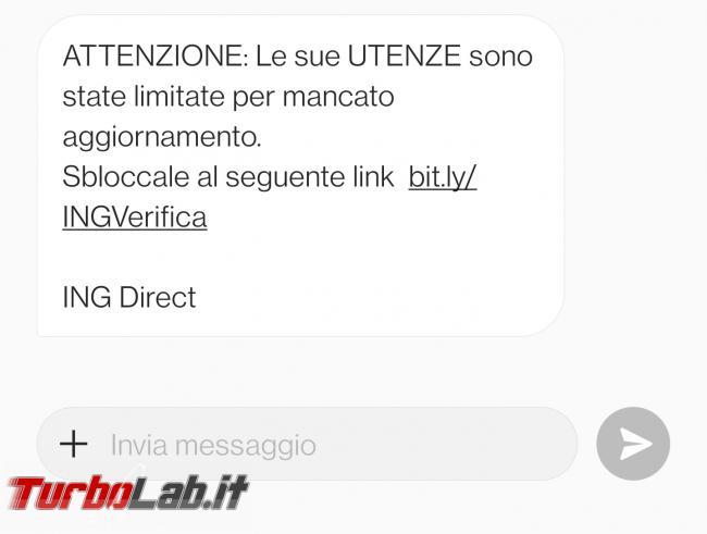 Utenze limitate mancato aggiornamento: SMS truffa ING Direct - Screenshot_20210512-181929