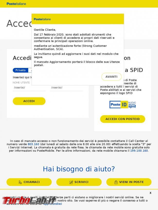 Utenze postali bloccate mancata sicurezza: SMS phishing si finge Poste Italiane
