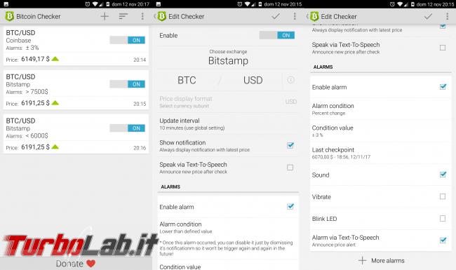 Valore Bitcoin aggiornato app ricevere notifiche/avvisi variazione prezzo smartphone Android - bitcoin checker android