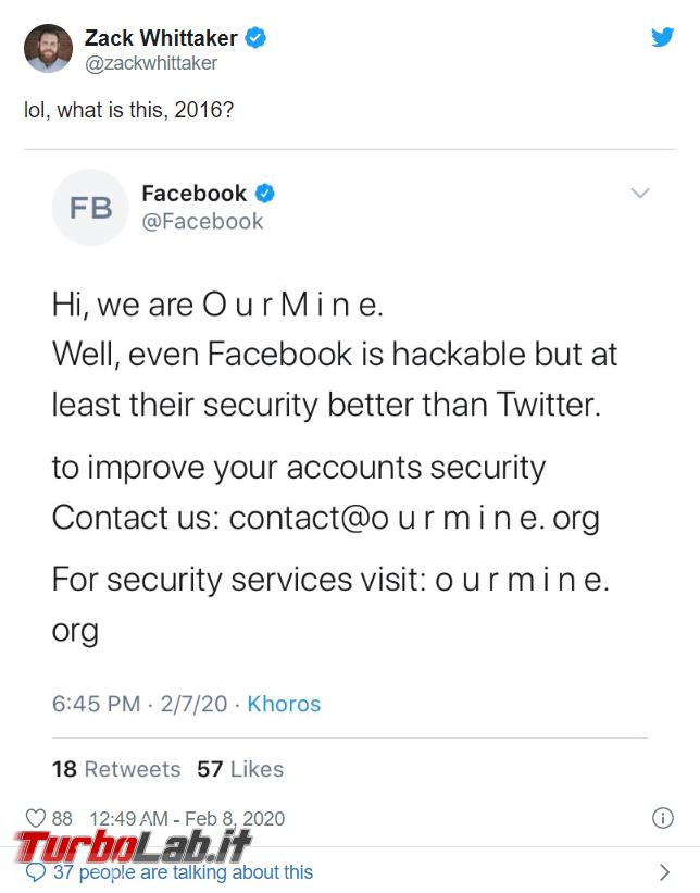 Violata pagina Facebook Twitter: hacker OurMine rivendicano attacco - FrShot_1581153847