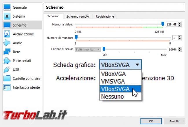 VirtualBox: quali differenze VBoxVGA, VMSVGA VBoxSVGA? Qual è migliore? - selezione vgpu virtualbox