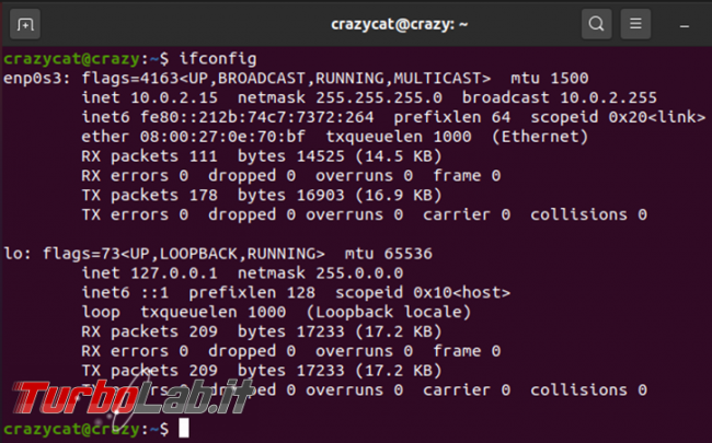 Visualizzare l'indirizzo IP, pubblico privato, computer Ubuntu