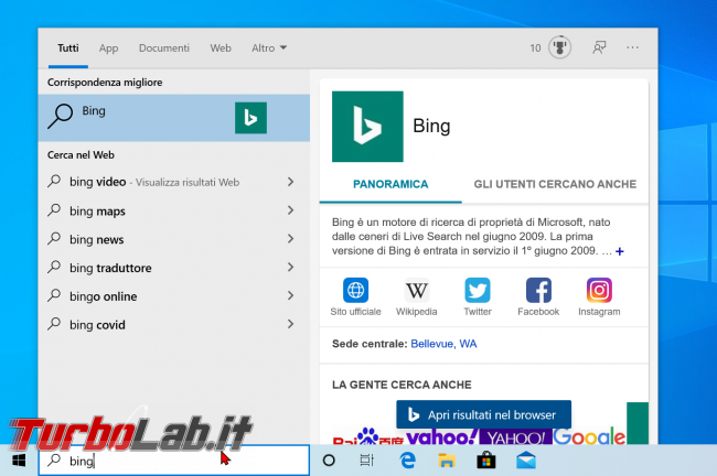 Windows 10 2004 (Maggio 2020): come disattivare/bloccare risultati Cerca Web ricerca Start (Bing) - risultati web windows 10