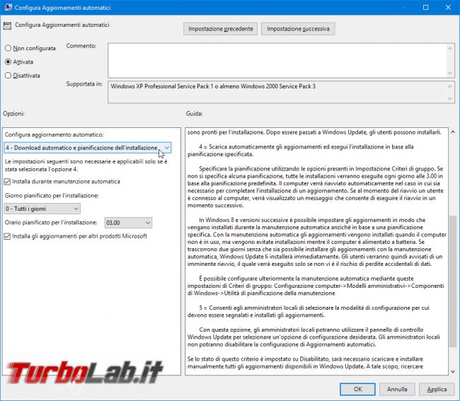 Windows 10 Anniversary Update: impedire riavvio automatico installazione aggiornamenti (NoAutoRebootWithLoggedOnUsers) - gpedit configura aggiornamenti automatici