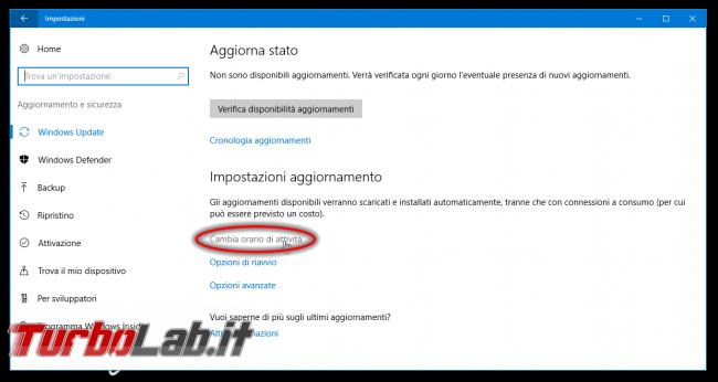 Windows 10 Anniversary Update: impedire riavvio automatico installazione aggiornamenti (NoAutoRebootWithLoggedOnUsers) - windows 10 1607 impostazioni windows update cambia orario attività