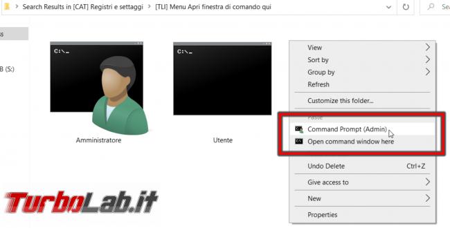 Windows 10: come aggiungere Apri finestra comando qui (Prompt comandi Amministratore) menu contestuale cartelle dischi