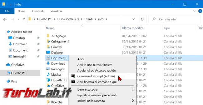 Windows 10: come aggiungere Apri finestra comando qui (Prompt comandi Amministratore) menu contestuale cartelle dischi - zShotVM_1577021642