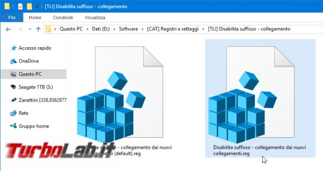 """Windows 10: come disabilitare suffisso/trattino """" - collegamento"""" aggiunto automaticamente nuovi collegamenti"""