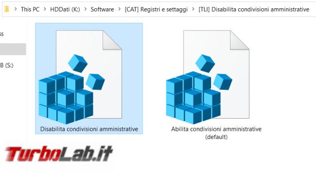 Windows 10: come eliminare condivisioni amministrative (ADMIN$, C$) ed evitare vengano ri-create