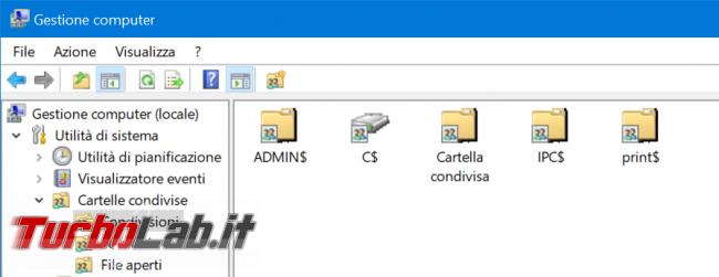 Windows 10: come eliminare condivisioni amministrative (ADMIN$, C$) ed evitare vengano ri-create - zShotVM_1585405386