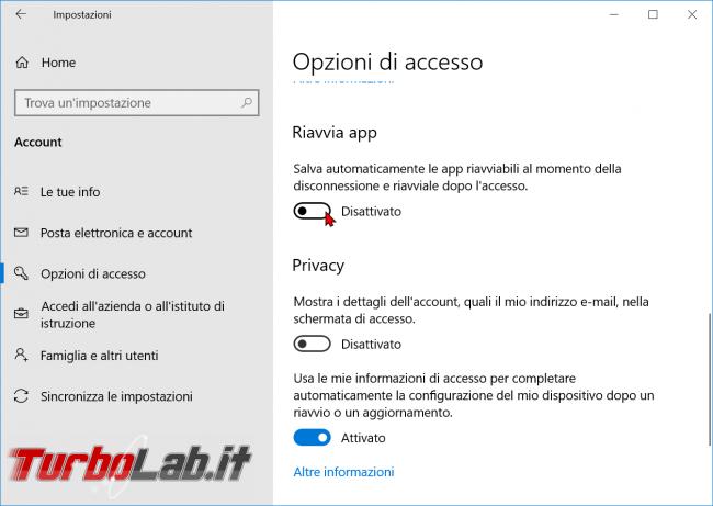 Windows 10: come impedire riapertura automatica programmi dopo riavvio spegnimento computer - zShotVM_1570876122
