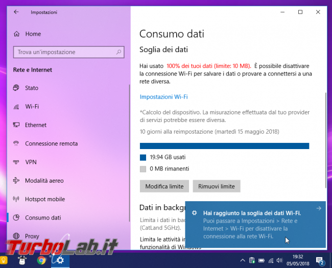 Windows 10: come limitare giga consumati mese (volume dati Internet connessione 3G/4G LTE/5G) - Mobile_zShot_1525541558