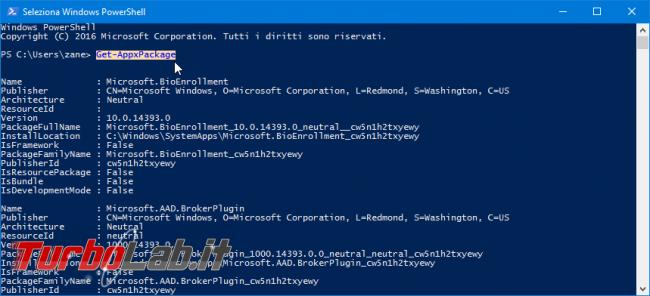 Windows 10: come recuperare versione, PackageFamilyName ed altre informazioni tecniche app UWP installate