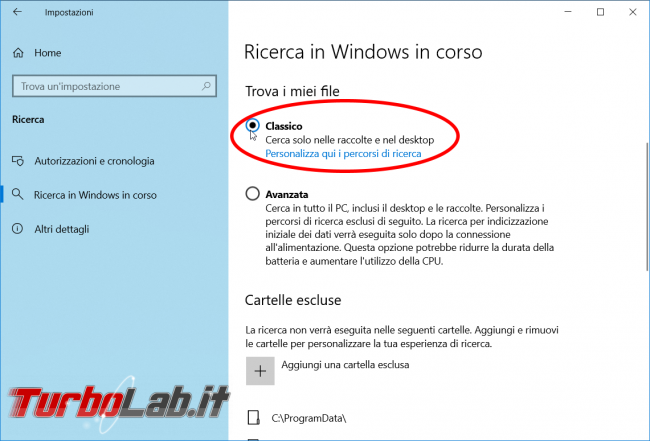 Windows 10: come rimuovere musica, foto altri file ricerca menu Start / Cortana (escludere cartelle / directory) - zShot_Insider_1552892899