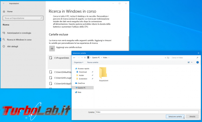 Windows 10: come rimuovere musica, foto altri file ricerca menu Start / Cortana (escludere cartelle / directory) - zShot_Insider_1552893456