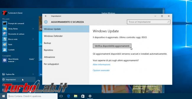 """Windows 10: cosa fare quando """"Centro soluzioni HP"""" non si avvia più / si chiude immediatamente - windows 10 windows update verifica disponibilità aggiornamenti"""