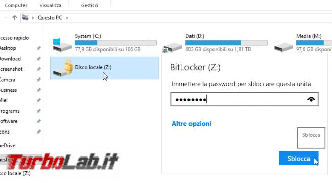 Windows 10 Home, Crittografia dispositivo: come attivare/disattivare crittografia automatica disco, come funziona - Proteggere chiavetta USB con password BitLocker To Go (10)