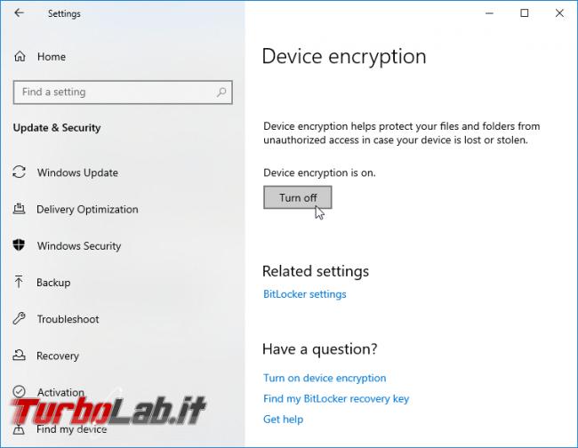 Windows 10 Home, Crittografia dispositivo: come attivare/disattivare crittografia automatica disco, come funziona - screen_xps_1568135006