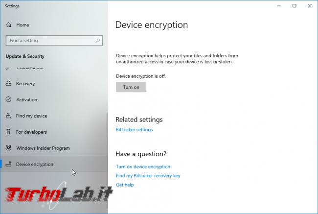 Windows 10 Home, Crittografia dispositivo: come attivare/disattivare crittografia automatica disco, come funziona - screen_xps_1568382815