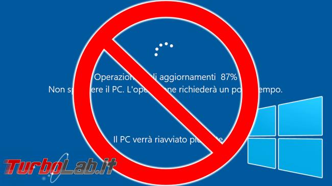 Windows 10: impedire / bloccare riavvio inopportuno Orario attività - windows updating deny
