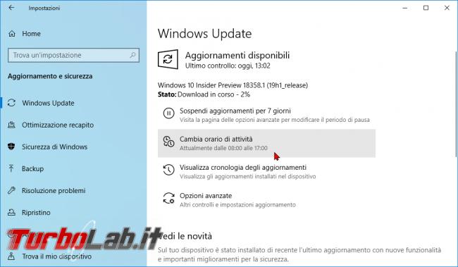 Windows 10: impedire / bloccare riavvio inopportuno Orario attività - zShotVM_1552737755