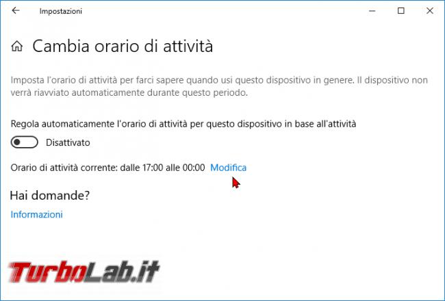 Windows 10: impedire / bloccare riavvio inopportuno Orario attività - zShotVM_1552738275